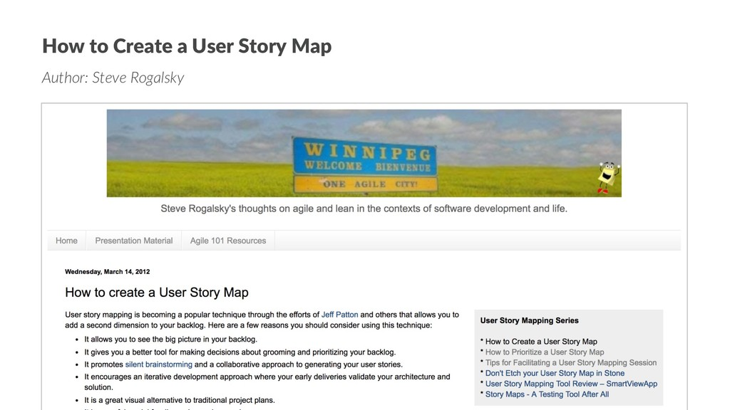 How to Create a User Story Map Author: Steve Ro...
