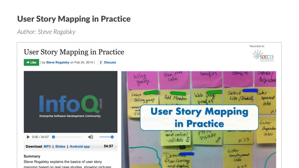 User Story Mapping in Practice Author: Steve Ro...