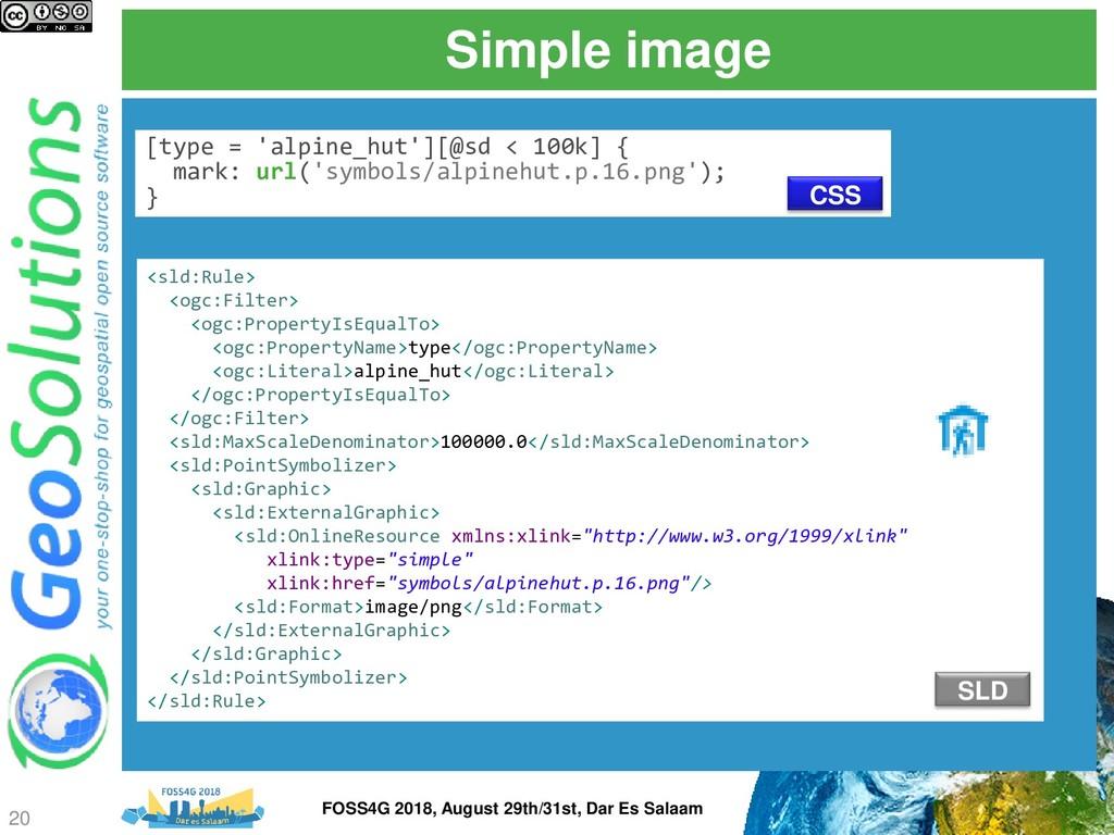 Simple image [type = 'alpine_hut'][@sd < 100k] ...
