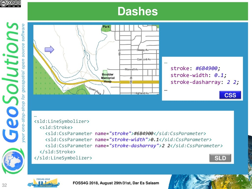 Dashes … <sld:LineSymbolizer> <sld:Stroke> <sld...