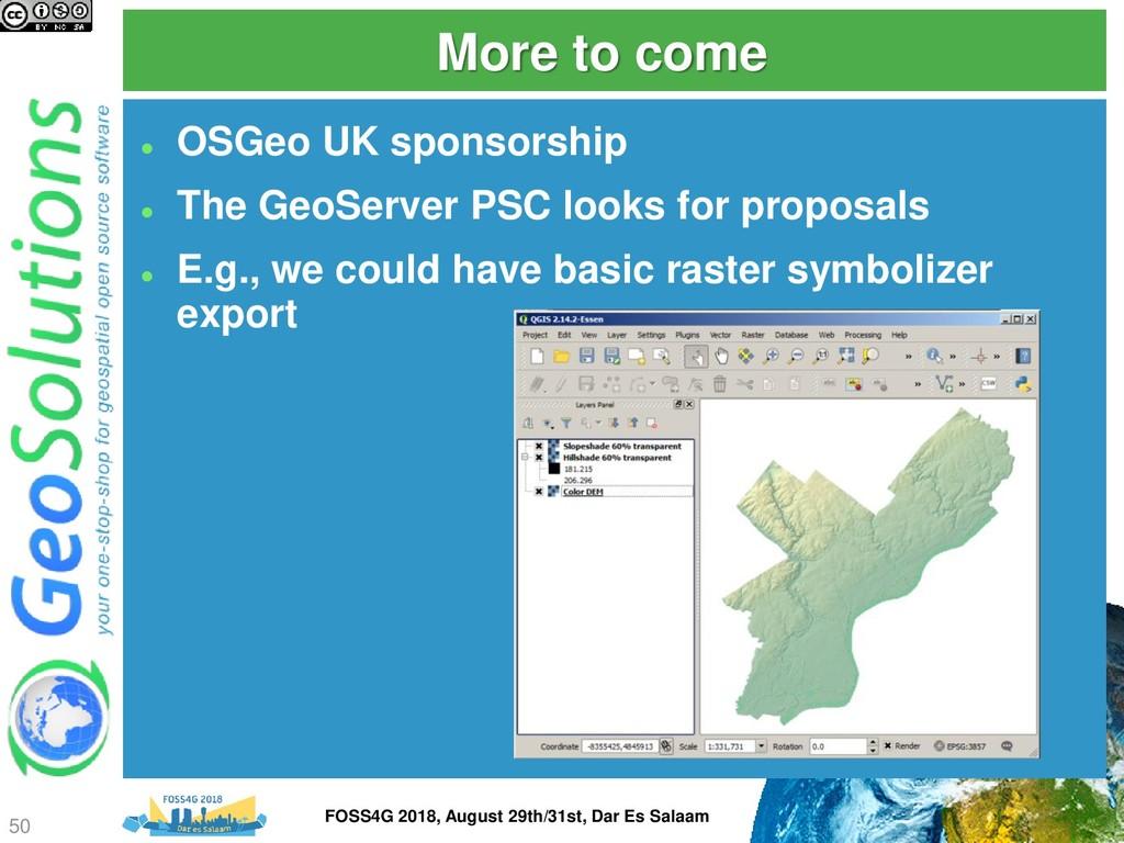 More to come ⚫ OSGeo UK sponsorship ⚫ The GeoSe...