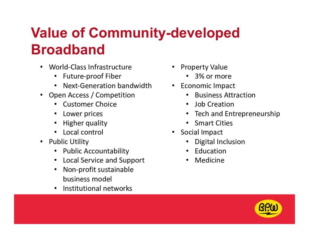 Value of Community-developed Broadband • World-...
