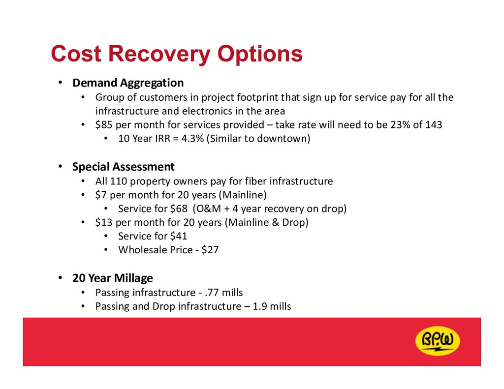 Cost Recovery Options • Demand Aggregation • Gr...