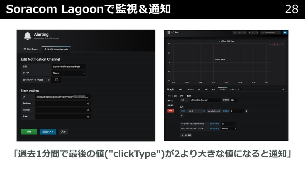 "Soracom Lagoonで監視&通知 28 「過去1分間で最後の値(""clickType""..."