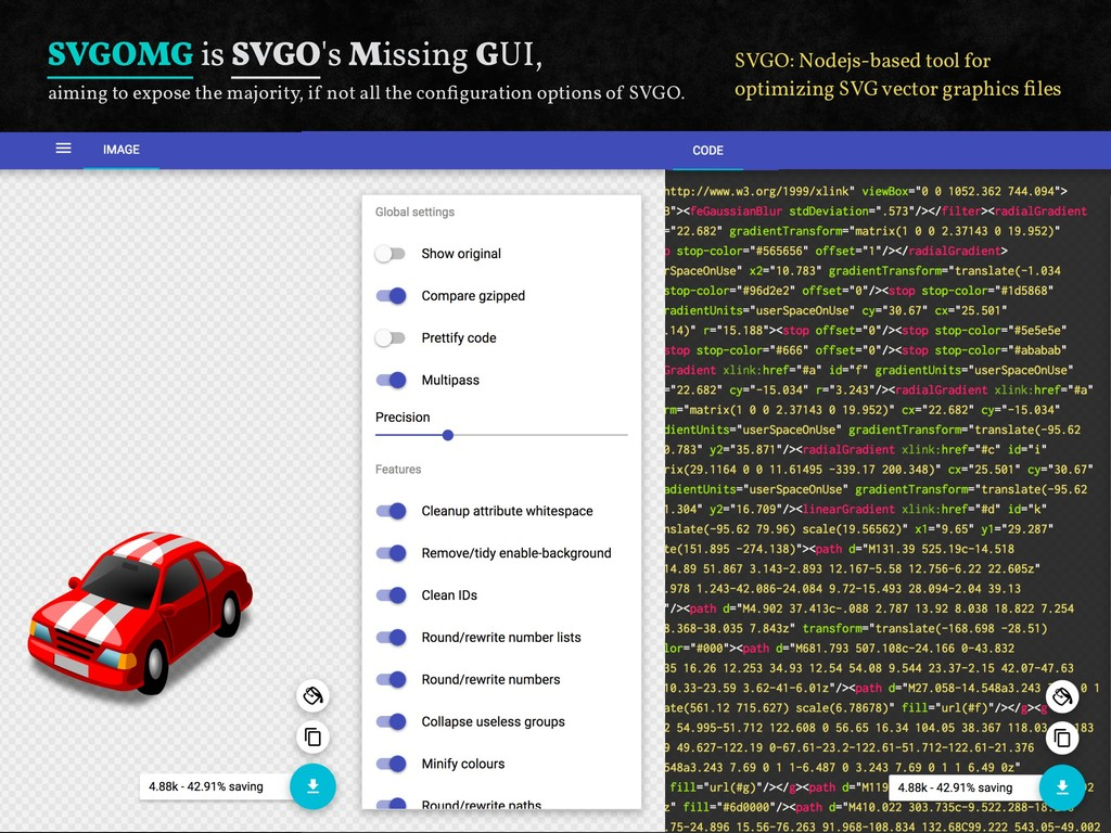 SVGOMG is SVGO's Missing GUI, aiming to expose ...