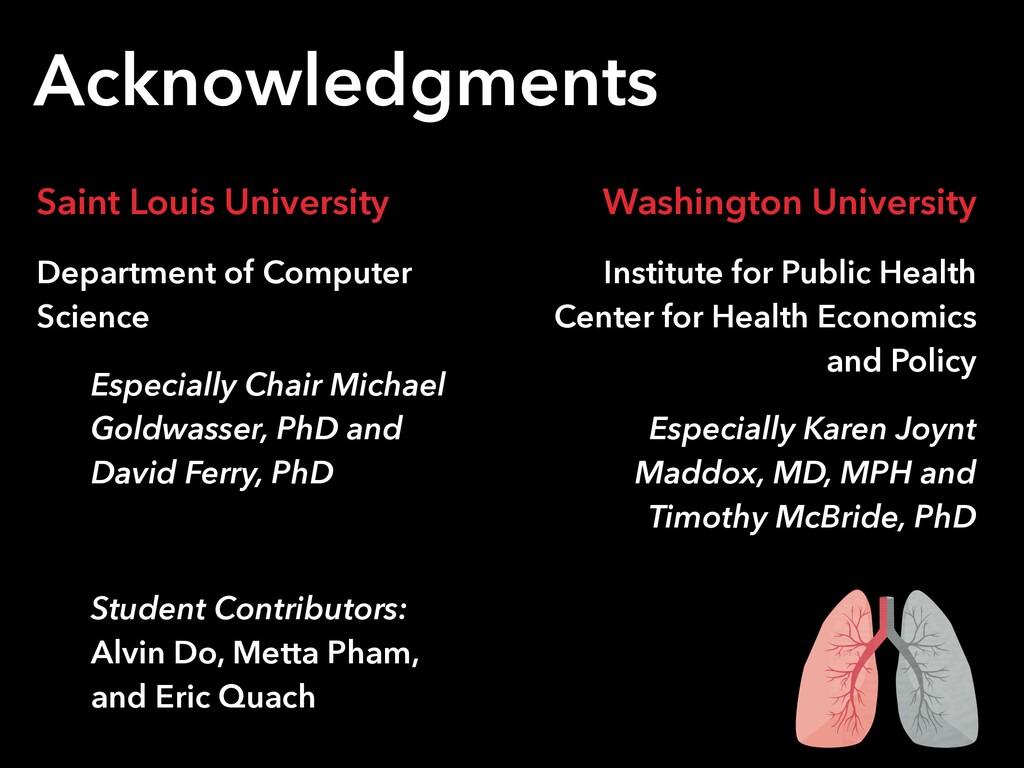 Acknowledgments Saint Louis University Departme...