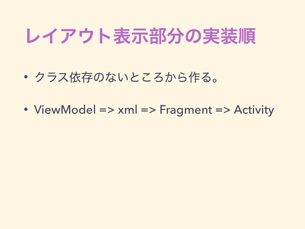 ϨΠΞτදࣔ෦ͷ࣮ॱ • Ϋϥεґଘͷͳ͍ͱ͜Ζ͔Β࡞Δɻ • ViewModel =>...