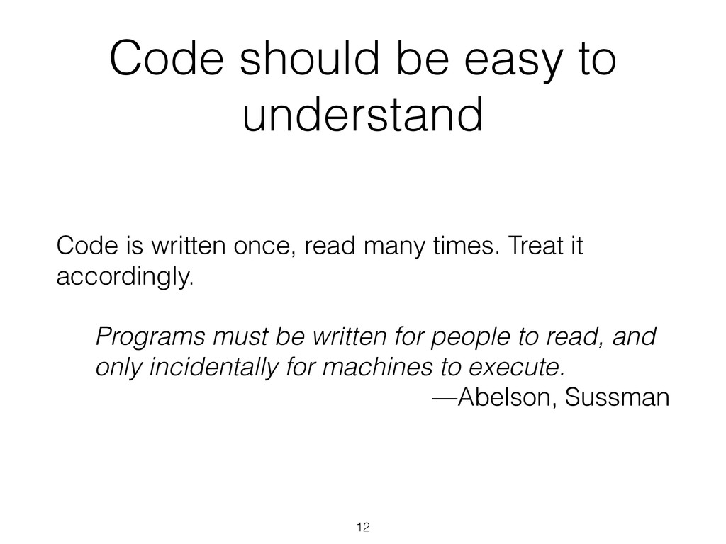 Code should be easy to understand Code is writt...