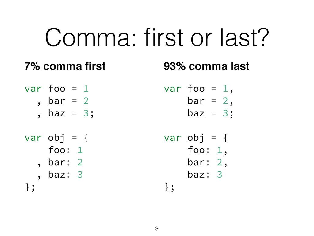 Comma: first or last? var foo = 1 , bar = 2 , ba...