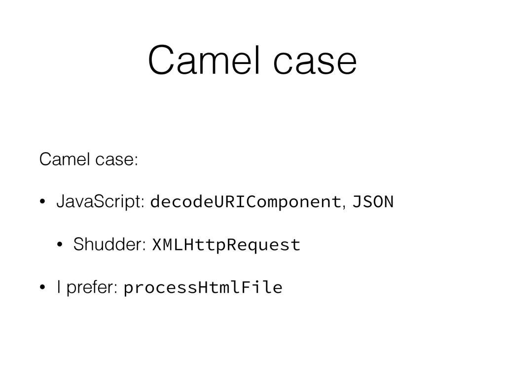 Camel case Camel case: • JavaScript: decodeURIC...