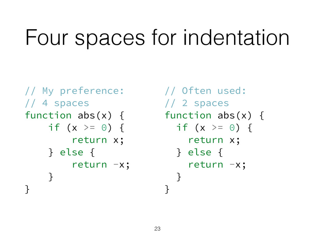 Four spaces for indentation // My preference: /...