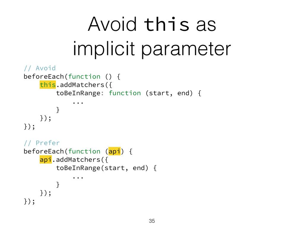 Avoid this as implicit parameter // Avoid befor...