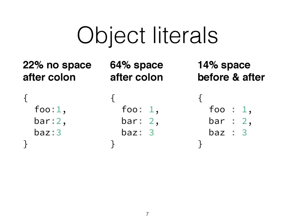 Object literals { foo:1, bar:2, baz:3 } { foo:...