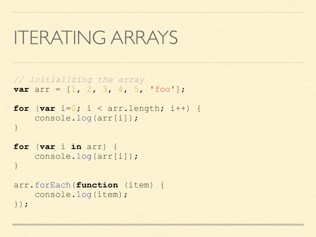 ITERATING ARRAYS // initializing the array var ...