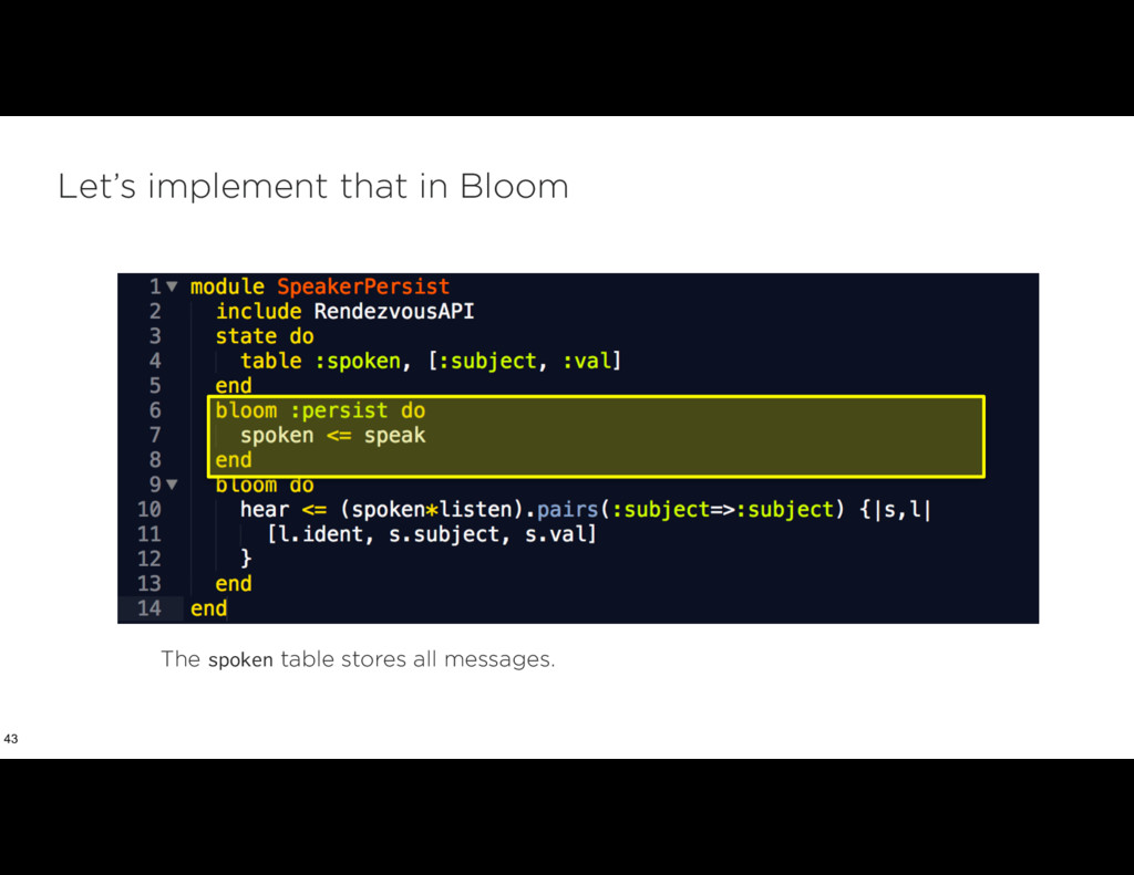Let's implement that in Bloom 43 The spoken tab...