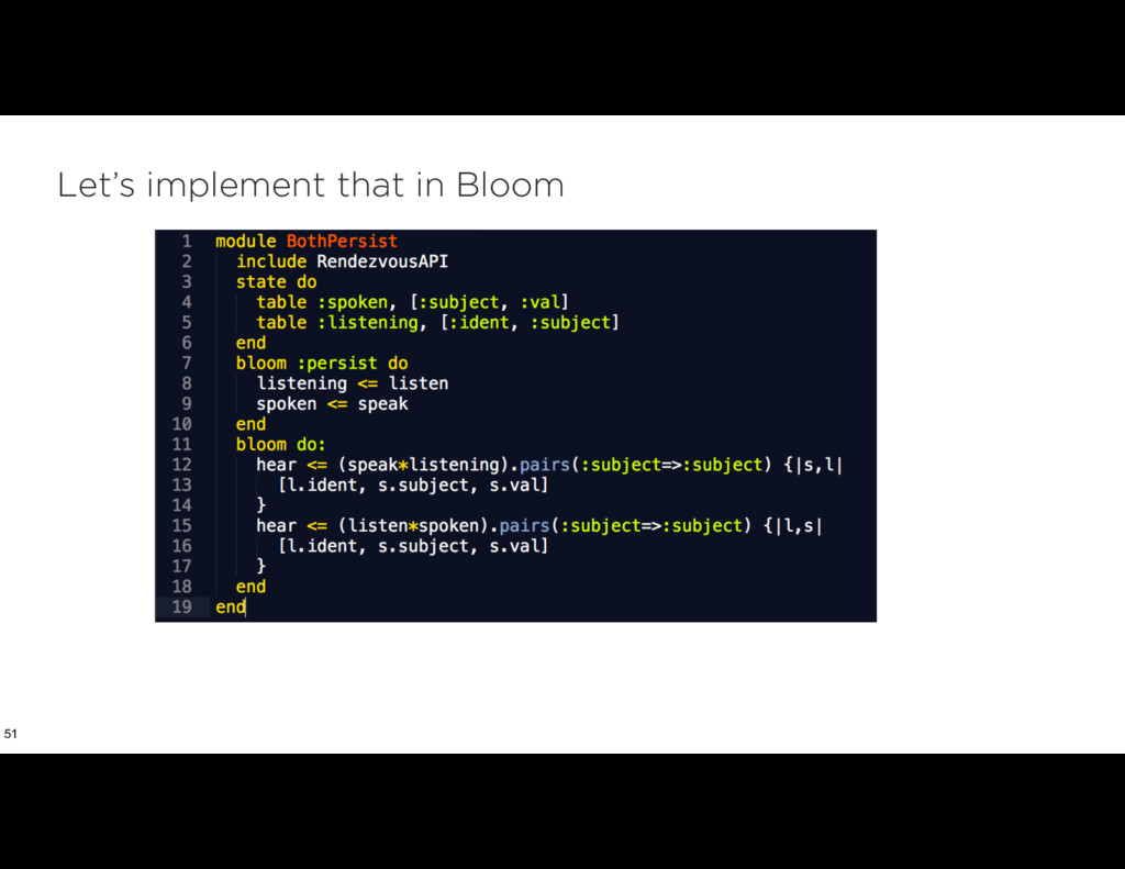 Let's implement that in Bloom 51