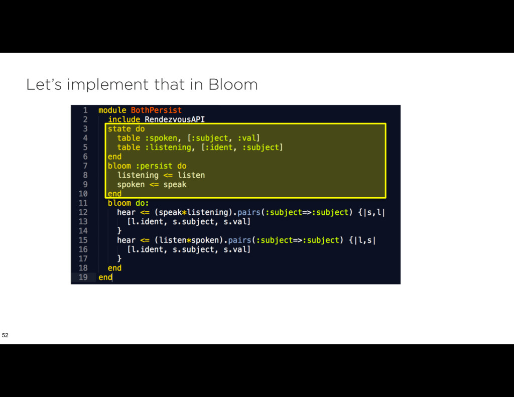 Let's implement that in Bloom 52