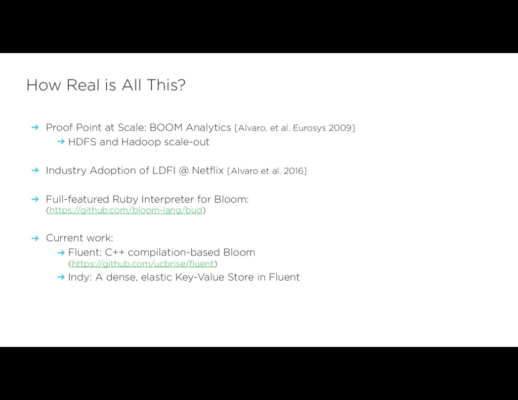 ➔ Proof Point at Scale: BOOM Analytics [Alvaro,...
