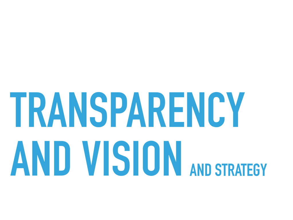 TRANSPARENCY  AND VISIONAND STRATEGY
