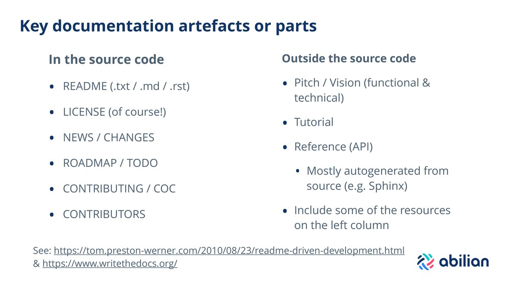 Key documentation artefacts or parts In the sou...