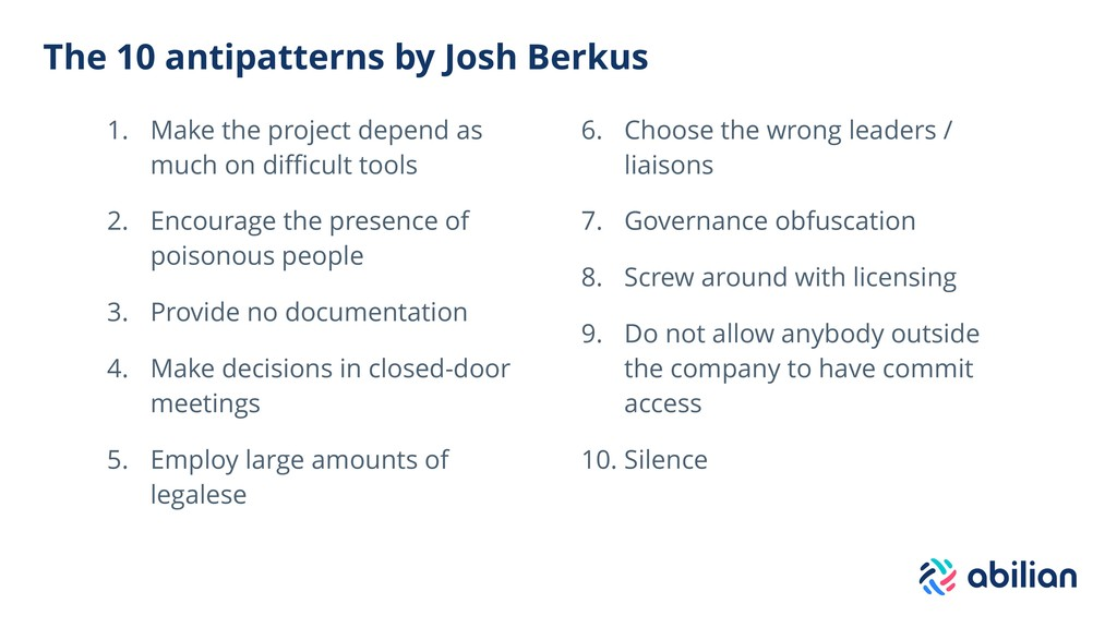 The 10 antipatterns by Josh Berkus 1. Make the ...