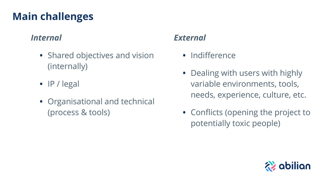 Main challenges Internal • Shared objectives an...