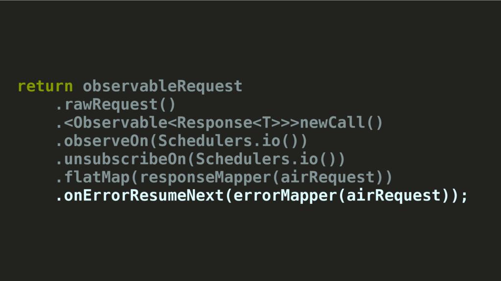 return observableRequest .rawRequest() .<Observ...