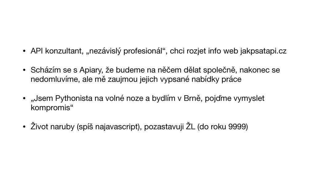 """• API konzultant, """"nezávislý profesionál"""", chci..."""