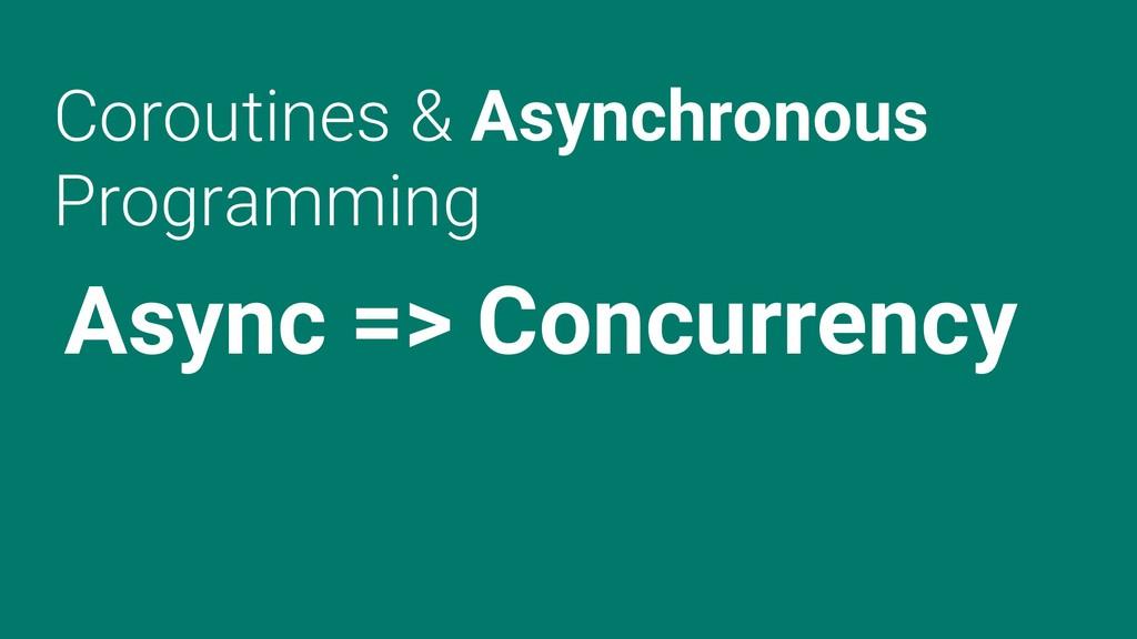 Coroutines & Asynchronous Programming Async => ...
