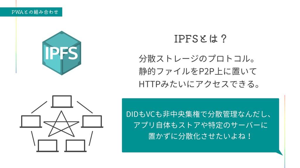 """18""""ͱͷΈ߹Θͤ *1'4ͱʁ 分散ストレージのプロトコル。   静的ファイルをP2P上..."""