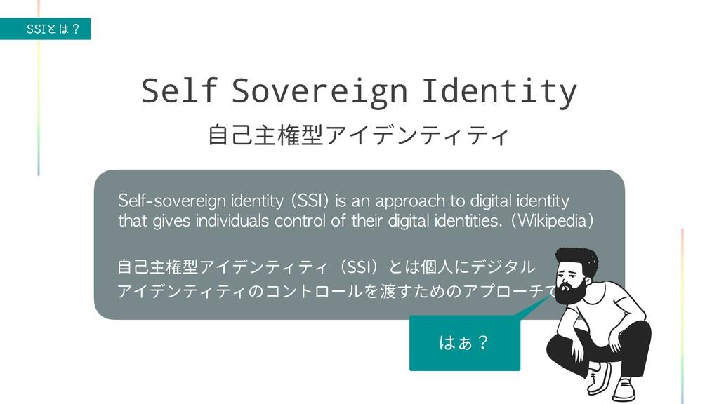 44*ͱʁ Self Sovereign Identity 自己主権型アイデンティティ Se...