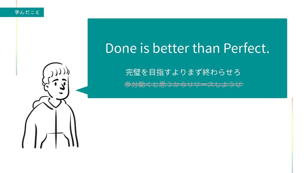 ֶΜͩ͜ͱ Done is better than Perfect.   完璧を目指すよりまず...