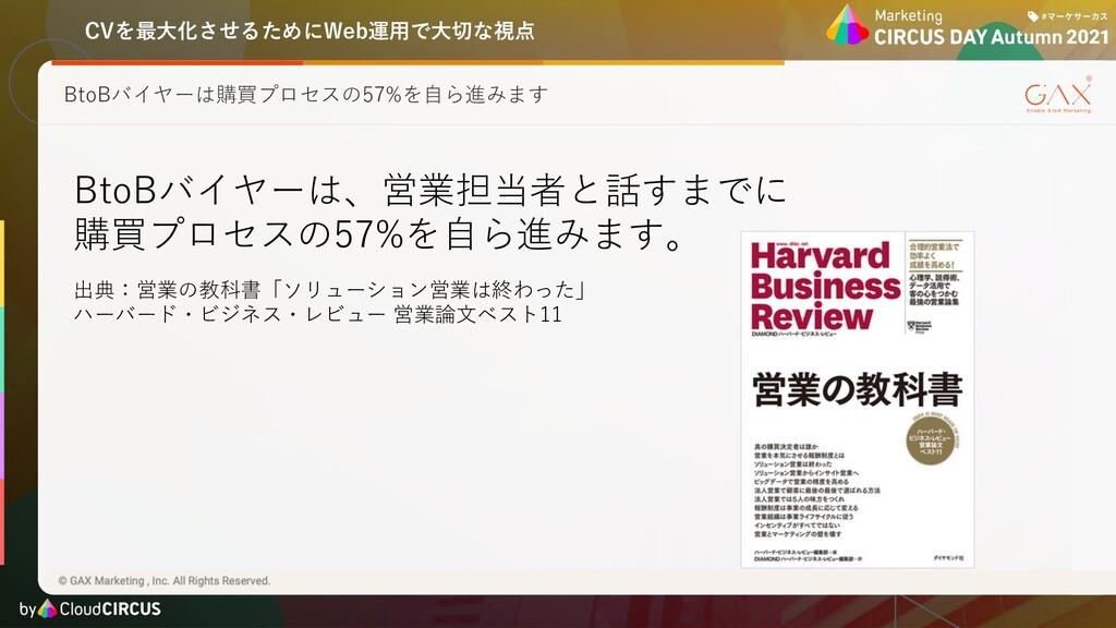 CVを最⼤化させるためにWeb運⽤で⼤切な視点 BtoBバイヤーは購買プロセスの57%を⾃ら進...