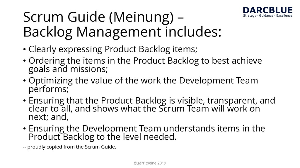 Scrum Guide (Meinung) – Backlog Management incl...
