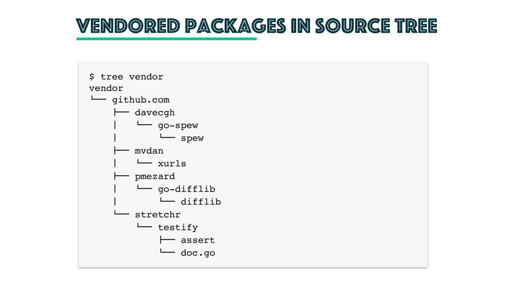 Vendored packages in source tree $ tree vendor ...