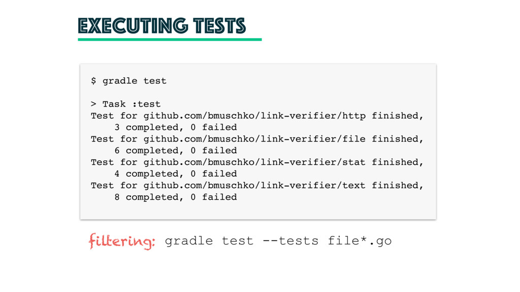 executing tests $ gradle test > Task :test Test...