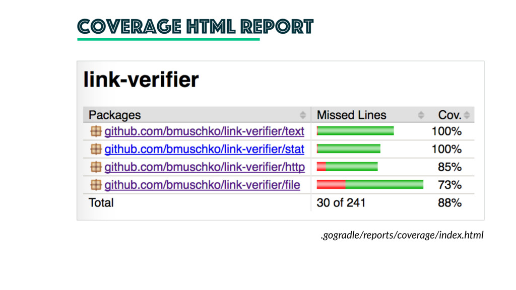 coverage Html report .gogradle/reports/coverage...