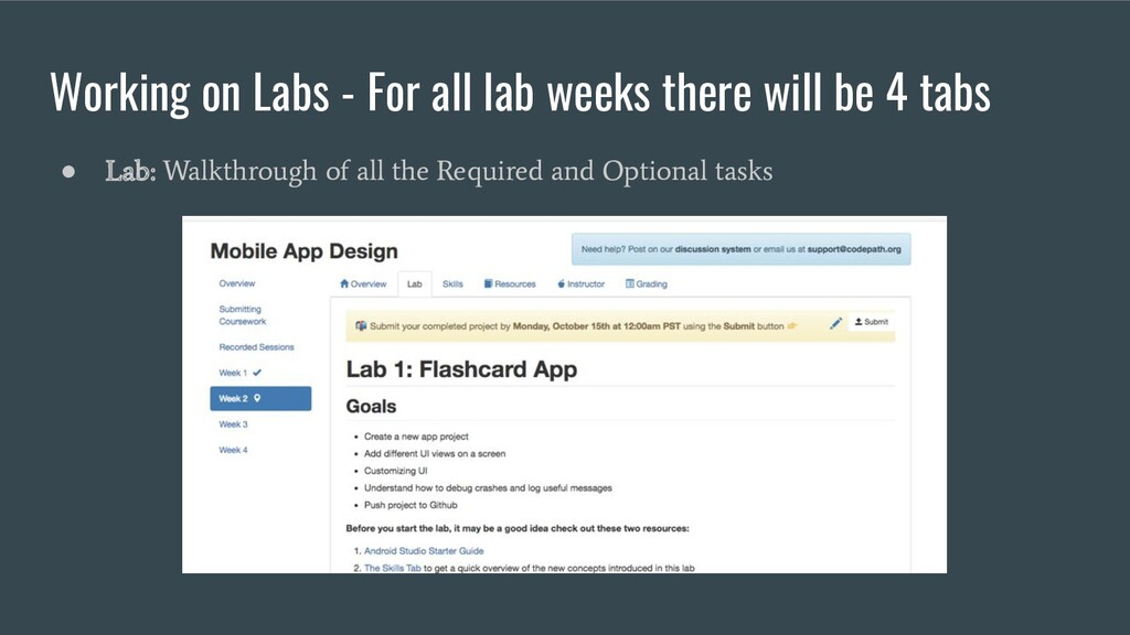 Working on Labs - For all lab weeks there will ...