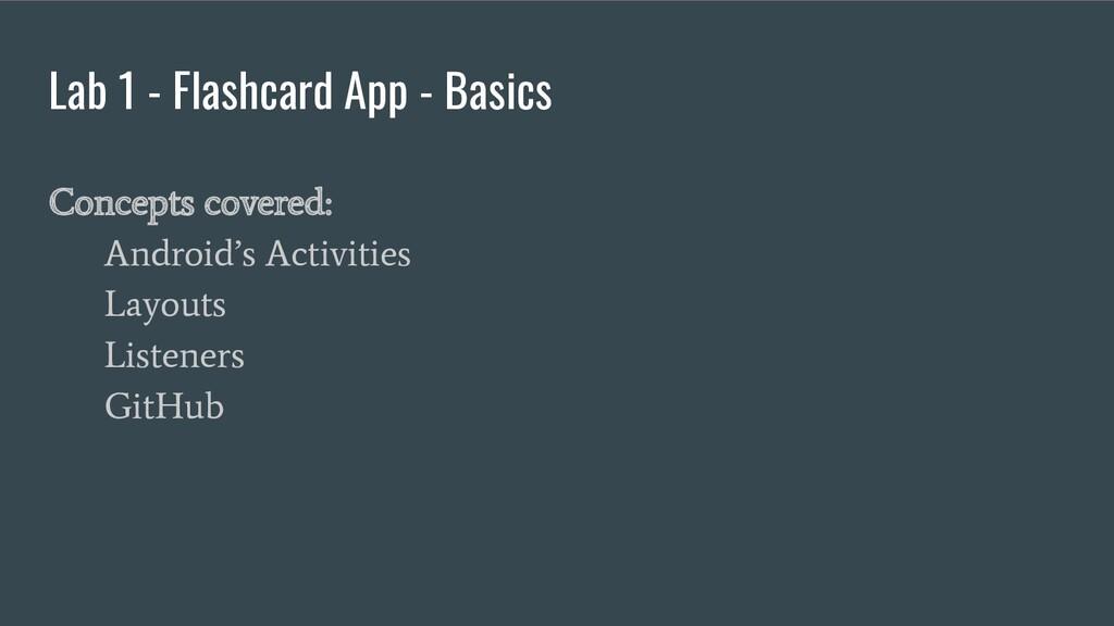 Lab 1 - Flashcard App - Basics Concepts covered...