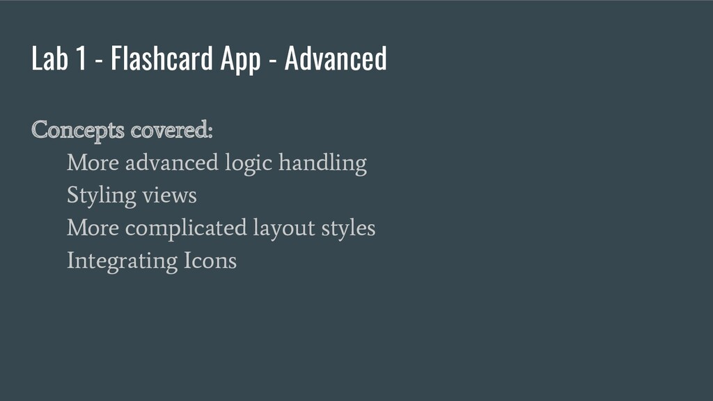 Lab 1 - Flashcard App - Advanced Concepts cover...