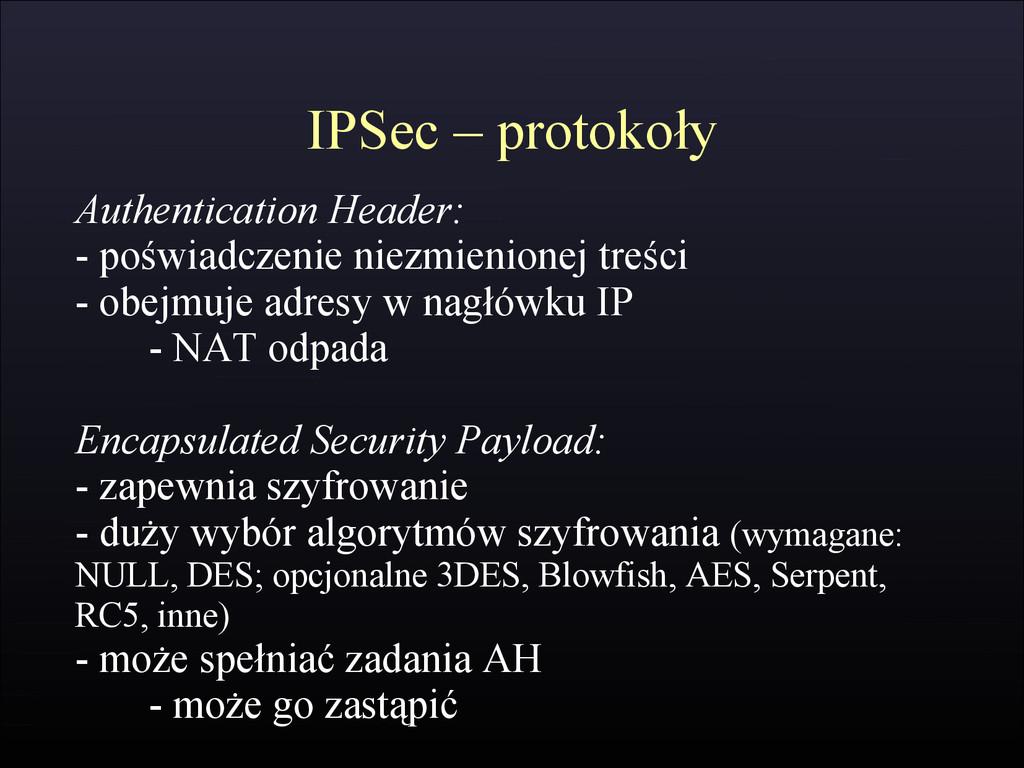 IPSec – protokoły Authentication Header: - pośw...
