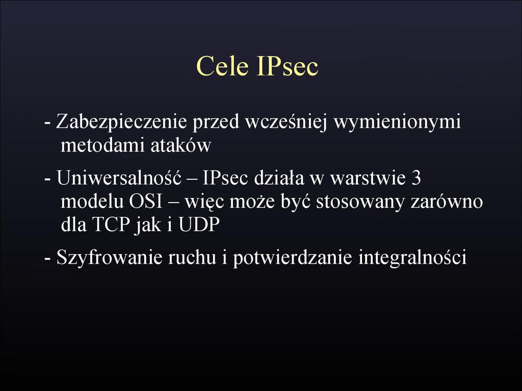 Cele IPsec - Zabezpieczenie przed wcześniej wym...