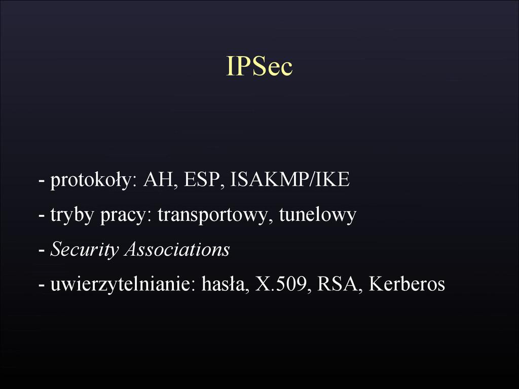 IPSec - protokoły: AH, ESP, ISAKMP/IKE - tryby ...