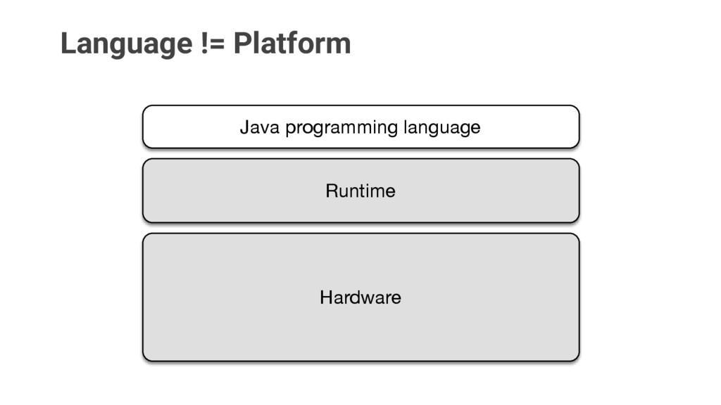 Language != Platform Java programming language ...