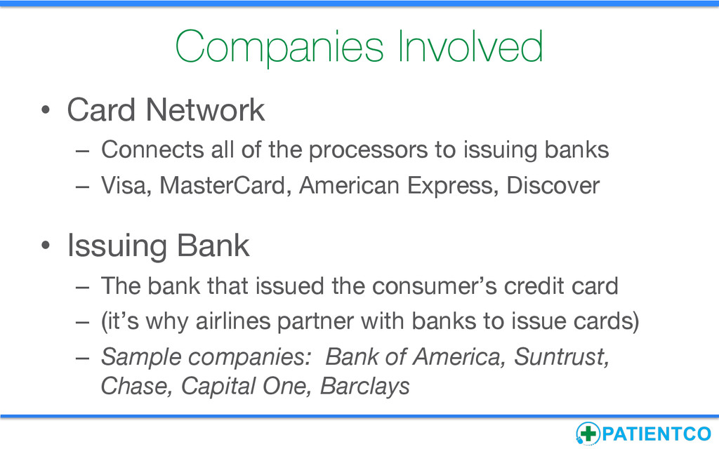Companies Involved • Card Network – Connect...