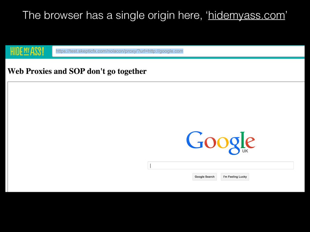 The browser has a single origin here, 'hidemyas...