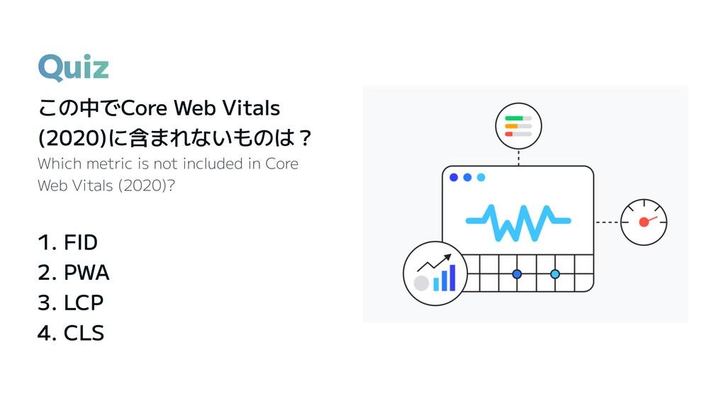 Quiz この中でCore Web Vitals (2020)に含まれないものは? Which...