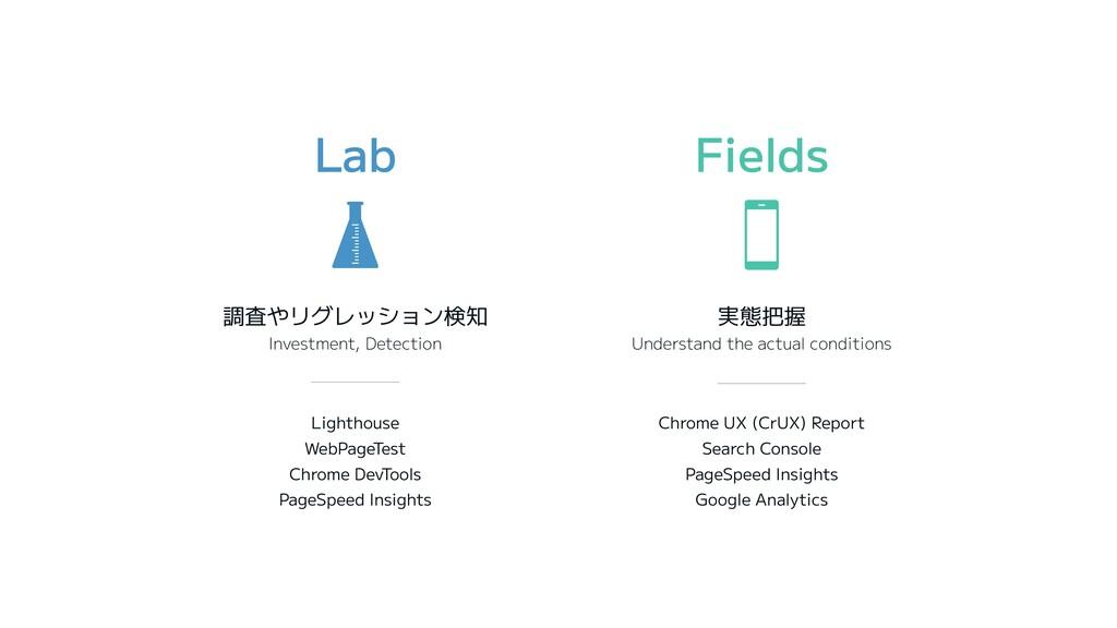 Lab Fields 調査やリグレッション検知 Investment, Detection 実...