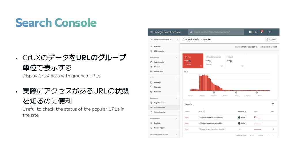 • CrUXのデータをURLのグループ 単位で表示する Display CrUX data w...