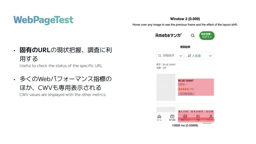 • 固有のURLの現状把握、調査に利 用する Useful to check the stat...